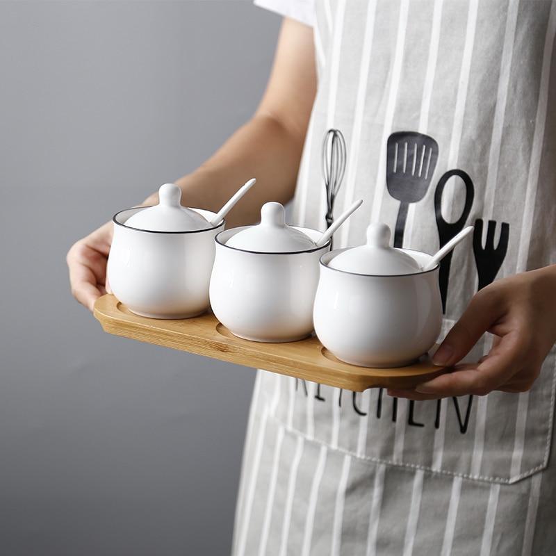 Saim 3pcs/set Kitchen Supplier Spice Seasoning Jar Container Salt Seasoning Bottle Can Sugar Bowl With Spoons Kitchen Box JJ212