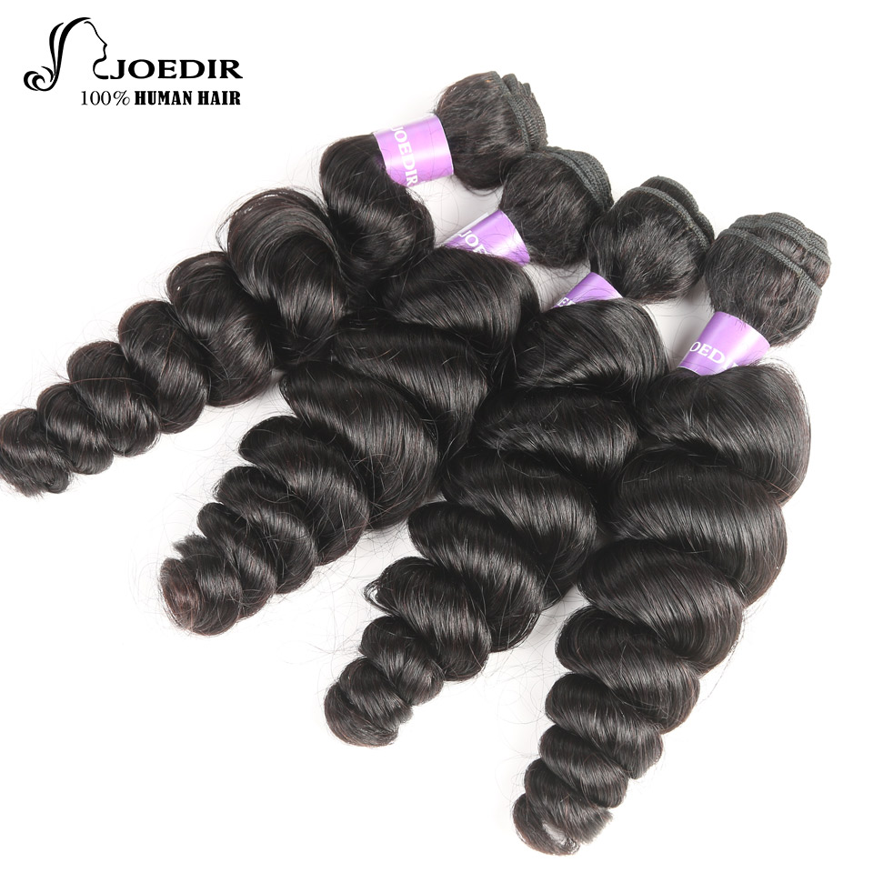 Joedir Indian Loose Wave bundles Human Hair Extensions 10 TO 26 Natural Black Cheap Human Hair Bundles 4Pcs Bundles
