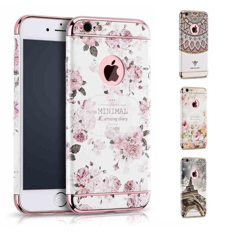 imágenes para 3D En Relieve Floral de La Flor De Impresión Para el iphone 6 s 6 de Lujo Duro de La Cubierta Para el iphone de Apple 6 y 6 s