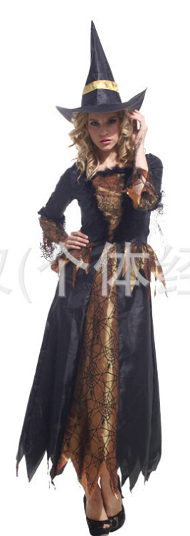 Free shipping Halloween costume Adult female witch cosplay costume color as show free size