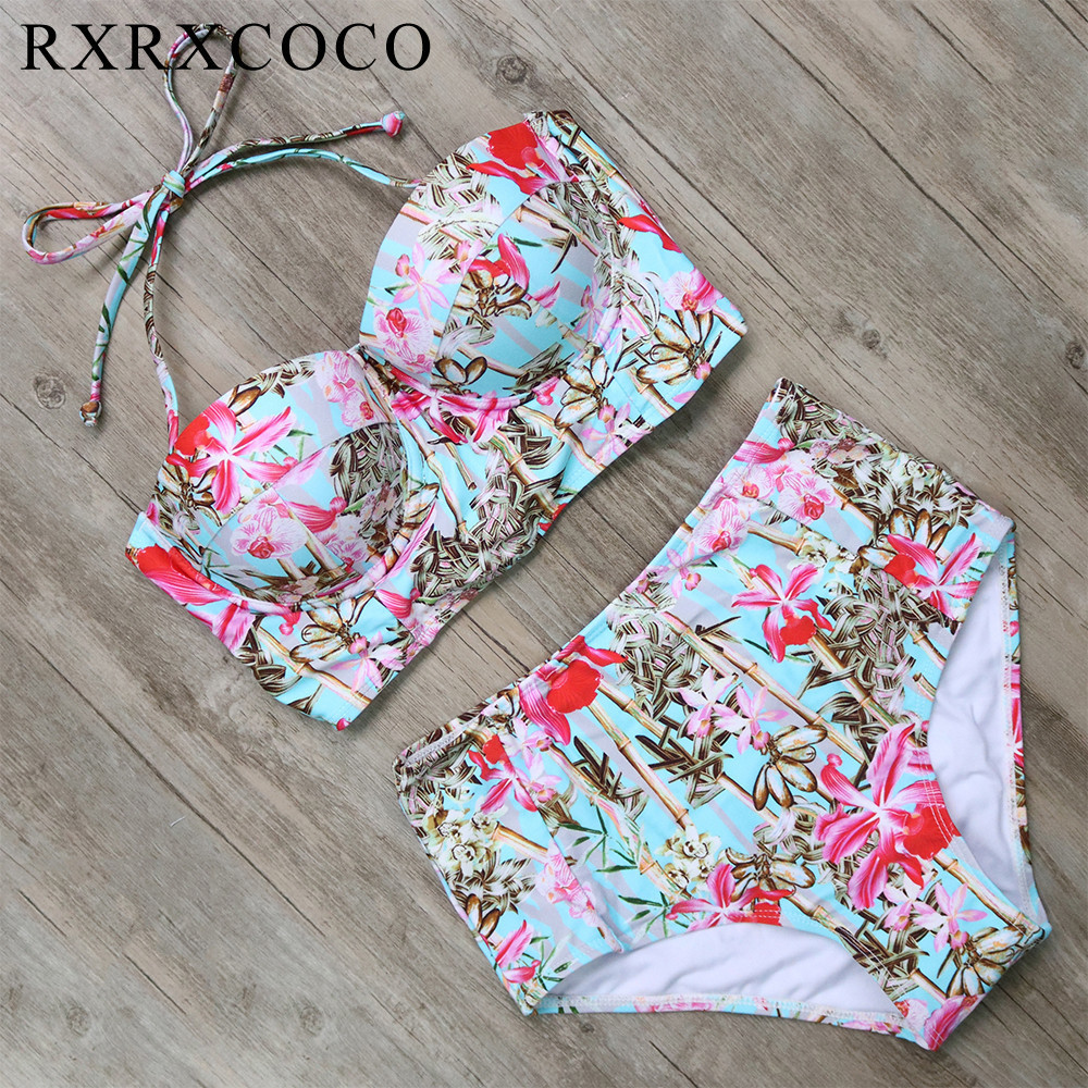 RXRXCOCO Sexy Floral Printed Summer Beach Bathing Suit Push Up Swimsuit Women Swimwear Bikini Set High Waist Beachwear 2017 vertvie sexy solid bangdage bikini set green hollow out push up braided rope swimsuit women 2017 summer beach party bathing suit