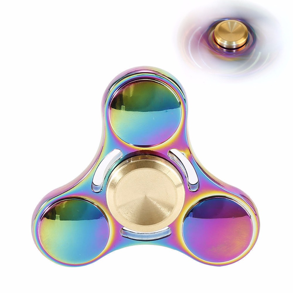 New Rainbow Hand Finger Fidget Spinner Fun Hand Game Desk Focus Toys Anxiety Stress Spinning Top Metal EDC Tri-Spinner Toy pudcoco metal boys girls rainbow fidget hand finger spinner focus edc bearing stress toys kids adults