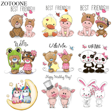 ZOTOONE Cartoon Animal Patch Set Iron on Transfer Unicorn Panda Cat Owl Patches for Kids Clothing Appliques Stickers Clothes