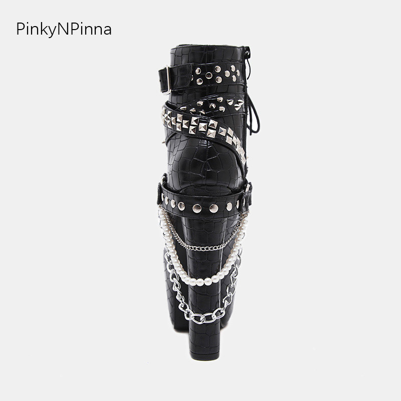 2019 new arrival super high heels 16cm platform sexy ankle punk boots female metal chains rivets studs buckle Gothic shoes woman in Ankle Boots from Shoes