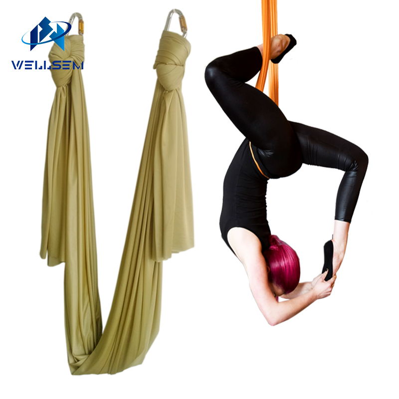 New colors arrival 5m/set flying Yoga Hammock Swing Trapeze AntiGravity Inversion Aerial Traction Device Yoga fitness sports 2 5m 1 5m elastic exercise yoga hammock aerial swing anti gravity yoga belt inversion trapeze hanging gym traction