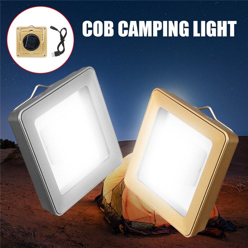 Versprechende Solar COB Freien Notfall Camping Zelt Licht Lampe Tragbare USB Wiederaufladbare Hängenden Lampe Laterne Für Wandern