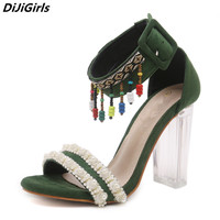 DiJiGirls Women Sandals Bohemian Clear Crystal Heel Sandals Female 2018 Summer High Heels Party Dance Green Sandals Big Size 9