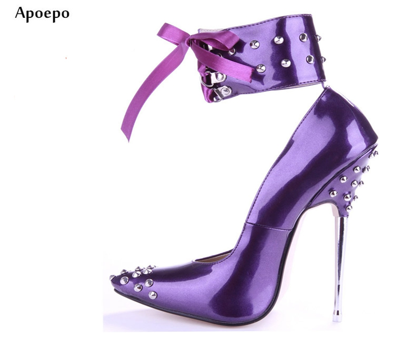 Apoepo 2018 Newest Woman High Heel Single Shoes 16CM Thin Heels Pointed Toe Pumps Rivets Studded Ankle Lace-up Dancing Heels newest solid flock high heel pumps woman