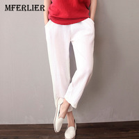 Summer Pants For Women Cotton Linen Casual Pants Elastic Waist White Blue Red Capris For Women