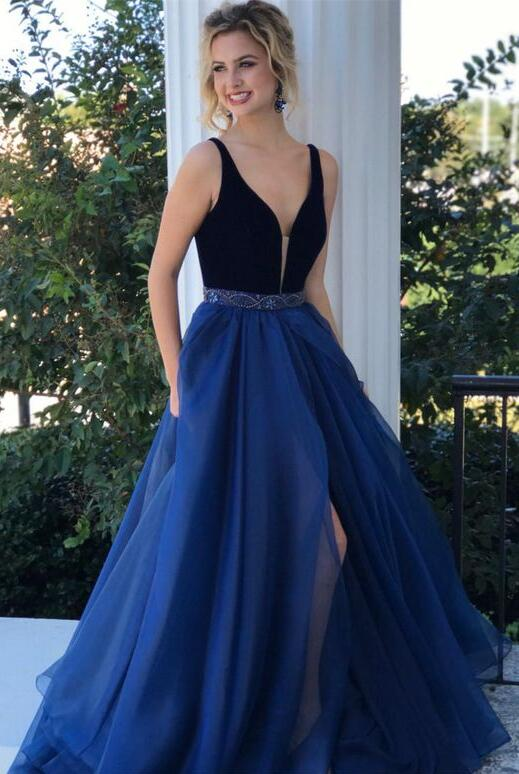 Elegant A-line   Prom     Dresses   Long vestidos gala 2019 Beaded Sash Dark Blue Evening   Dress   V-neck Sleeveless