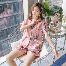 Summer Silk Satin Pajamas Short Pyjamas Set Flower Sleepwear Pijama Suit Female Sleep Homewear Loungewear Big Size XXL