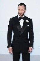 Черный мужской костюм атласный остроконечные лацканы Slim Fit двубортные свадебные костюмы для мужчин формальный заказ смокинг 2 шт. костюмы д