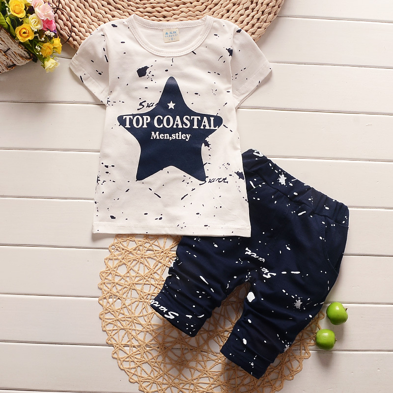 eb32d0618 Baby Boy Clothes 2017 Brand Summer Kids Clothes Sets T-shirt+pants Suit  Clothing Set Star Printed Clothes Newborn Sport Suits