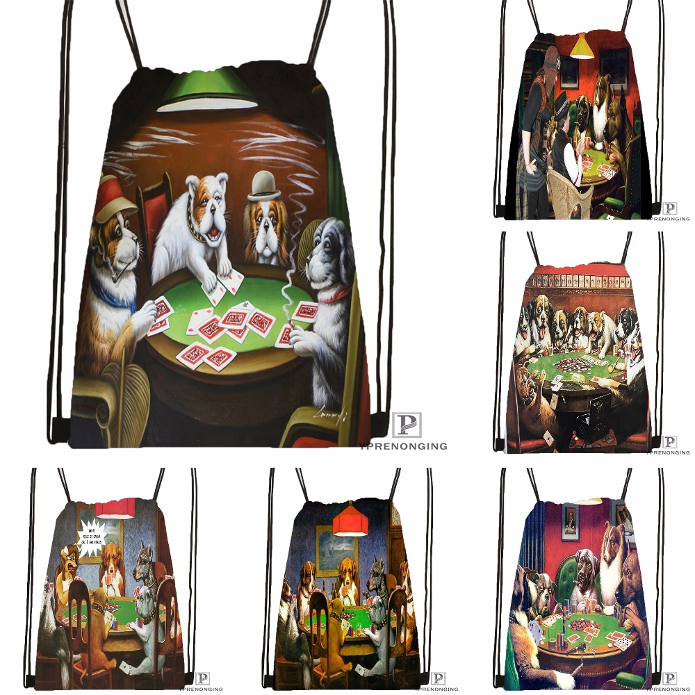 Custom Dogs Playing Poker Drawstring Backpack Bag Cute Daypack Kids Satchel (Black Back) 31x40cm#180531-04-05