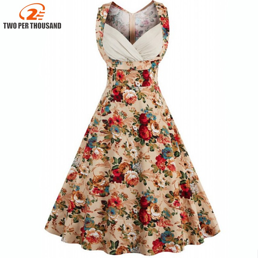 564c56cee12 Retro Vintage 1950s 50s 60s Lady Elegant Women V-Neck High Waist Sleeveless  Casual Party Midi Pleated Dress Feminino Vestidos