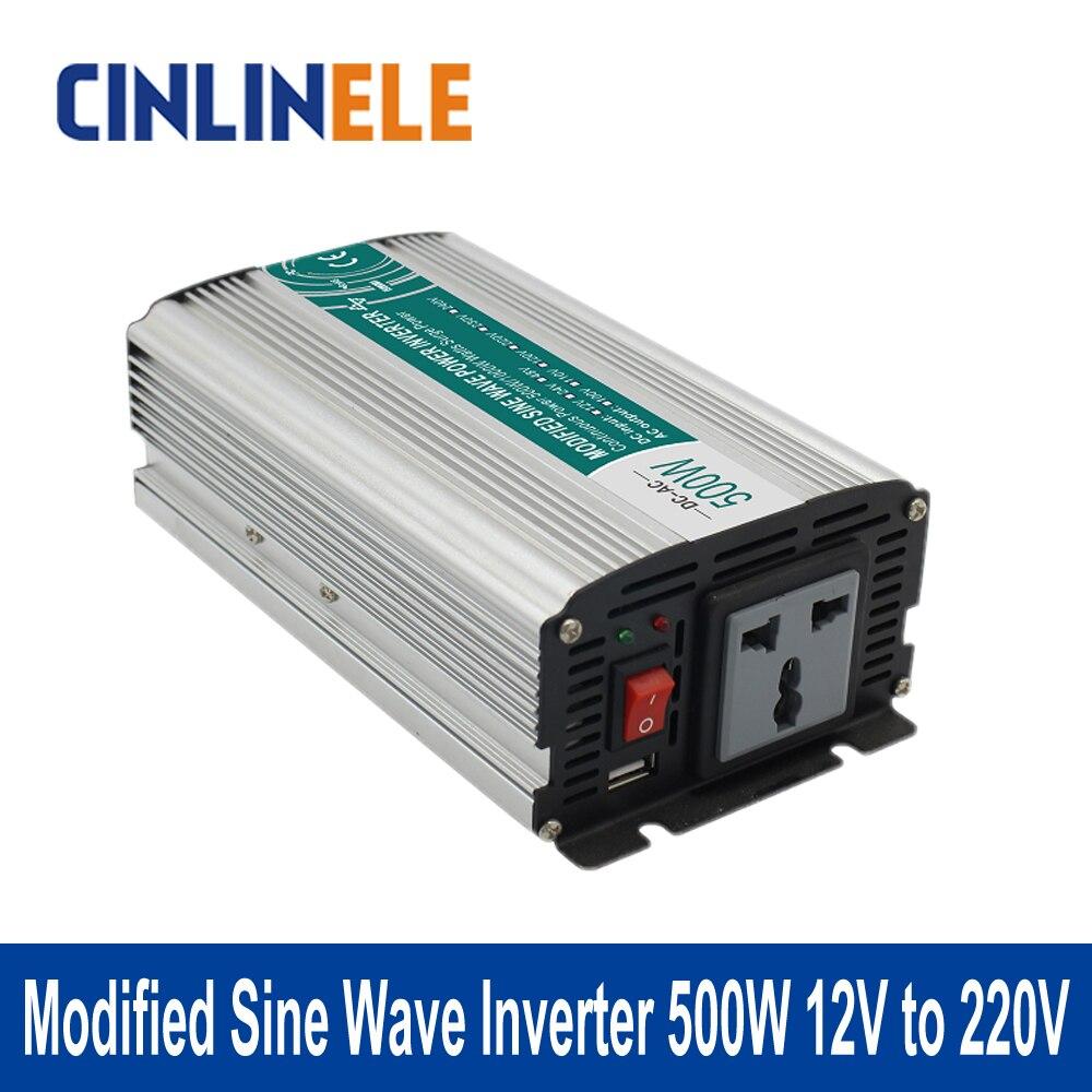 Modified Sine Wave Inverter 500W CLM500A-122 DC 12V to AC 220V 500W Surge Power 1000W Power Inverter 12V 220V  цены