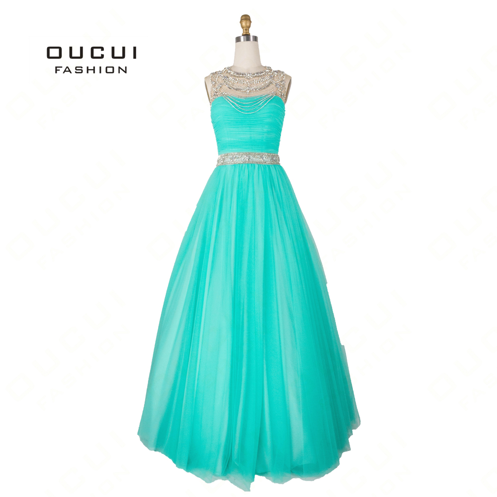 Real Photo Sleeveless Beading Crystal Elegant Long   Prom     Dresses   A-Line Pleat Bodice Evening Party For Women Vestido OL102759