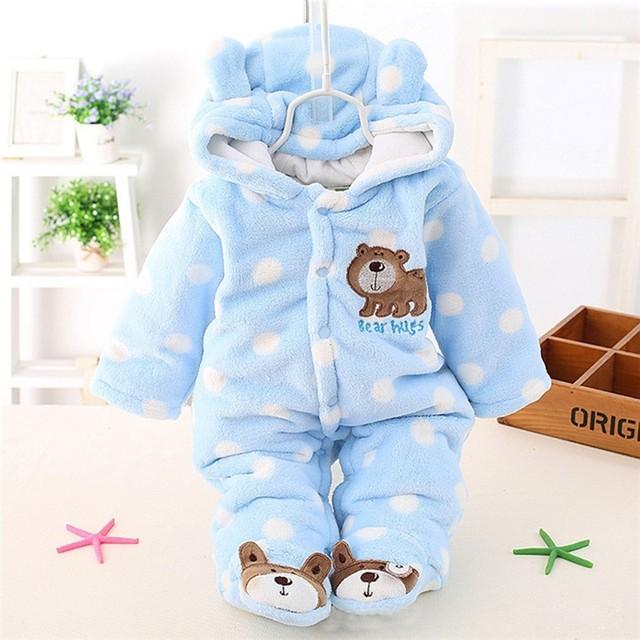 Recém-nascidos Roupas de Bebê Menino Meninas Inverno Quente Coral Fleece Urso Macacão Macacões de Bebê Dos Desenhos Animados Infantis Roupas Para Baixo Snowsuit