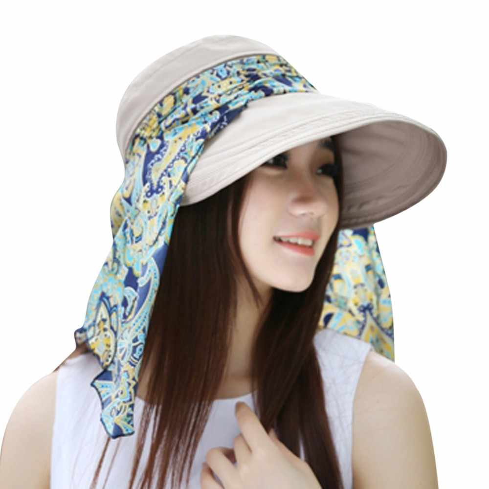 Women Ladies Holiday Visor Hat Summer Sun Beach Foldable Roll Up Wide Brim Cap summer hat for women straw hat chapeu feminino