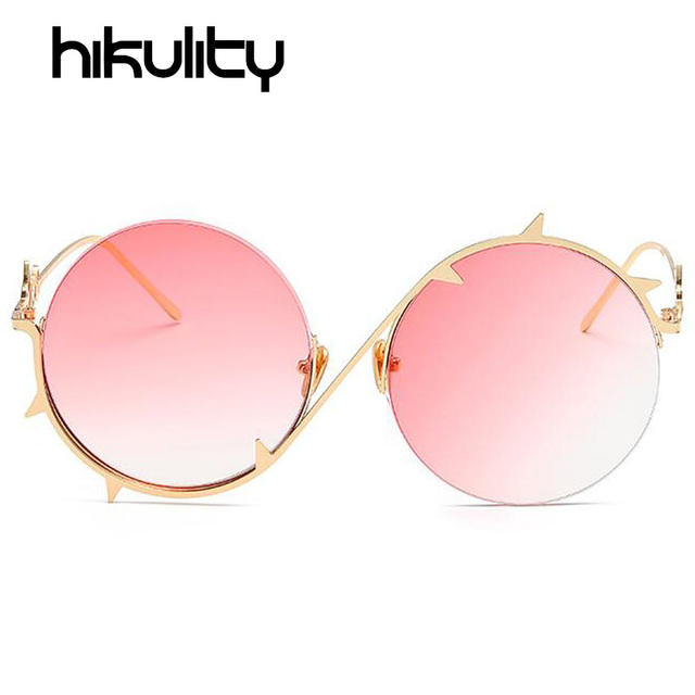 2db996af465 Alloy Round Unique Sunglasses Women Brand Thorns Frame Eyewear Pink Blue  Gradient Lens Sun Glasses Ladies Gold Clear Lunette