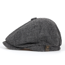 Fashion Herringbone Tweed Gatsby Newsboy Cap Men Wool Ivy Hat Golf Driving Flat Cabbie Unisex Berets