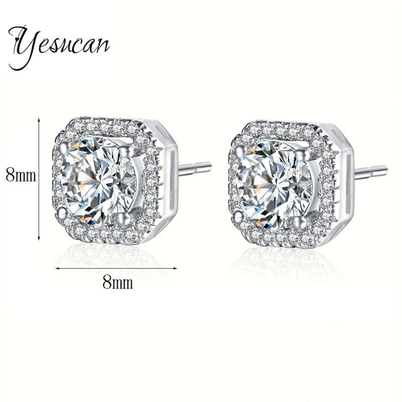 Yesucan Brinco Earrings Top Quality Rhodium Bling Hip Hop Women men Square Screwback Earrings Cube Jewelry 8MM CZ Wedding Studs