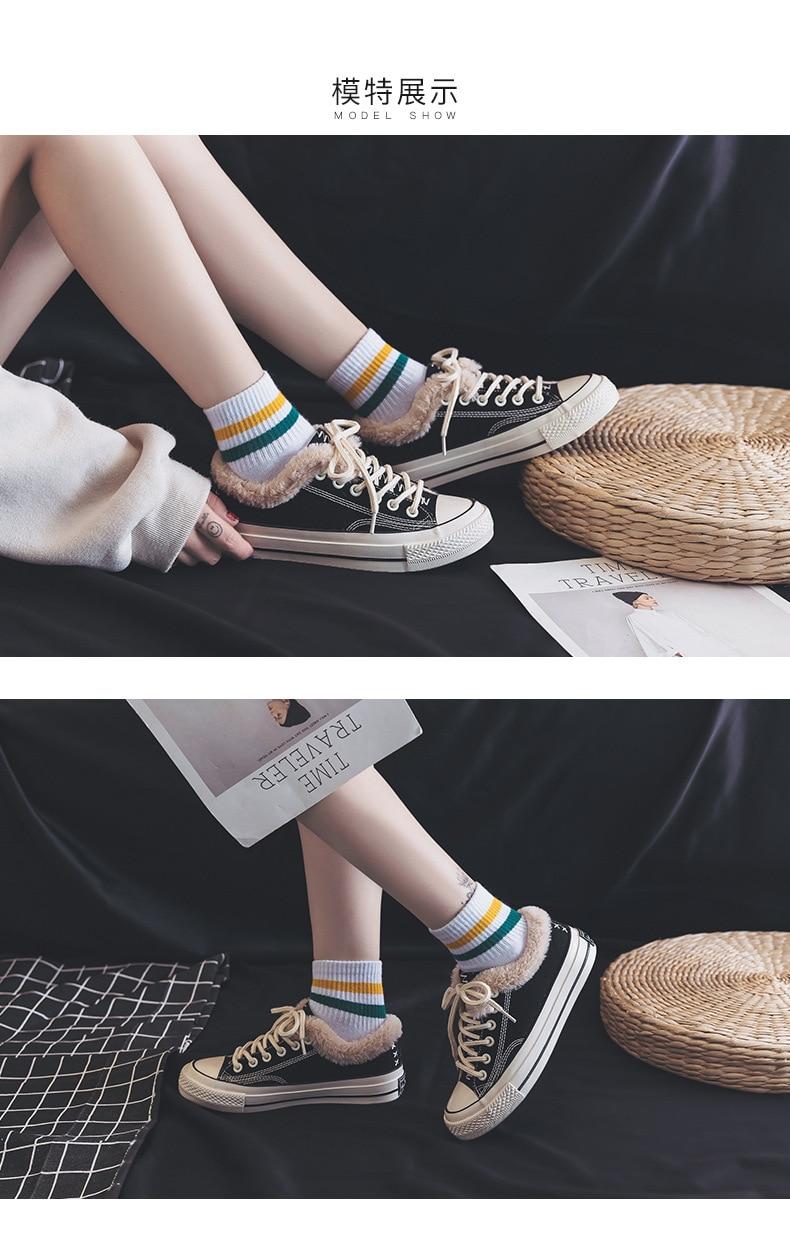 Повседневная парусиновая обувь для женщин джинсовая вулканизации с Мех животных теплые туфли без каблуков зима бархат Джинс