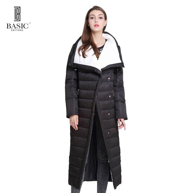 Основные Vogue Для женщин зимние удлиненные Однобортный Повседневное Puff Парка на пуху куртка-Y16010
