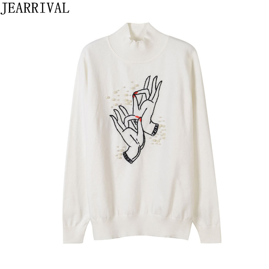 Runway Designer Sweater Women Finger Embroidery Beading Pullover Casual Long Sleeve O-Neck Knitted Oversized Jumper Sweaters