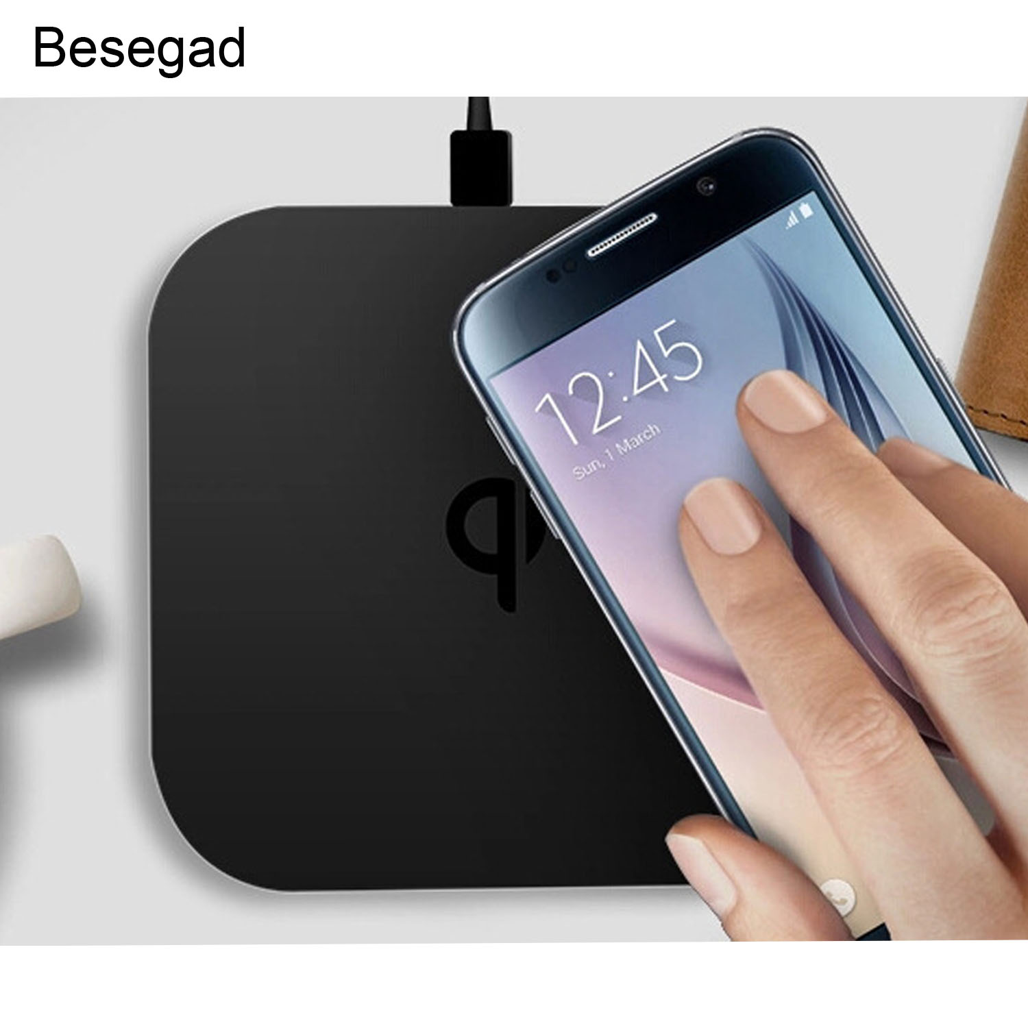besegad qi wireless charger charging pad w dual usb port. Black Bedroom Furniture Sets. Home Design Ideas
