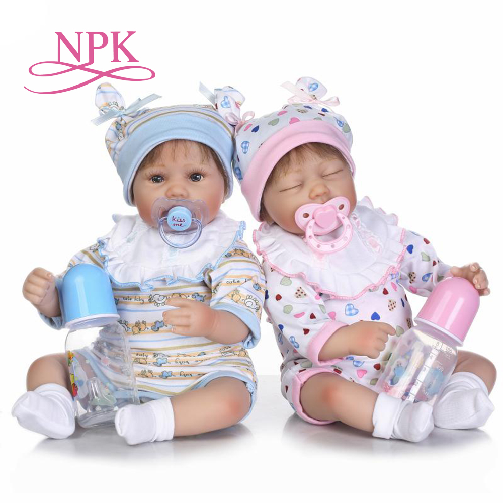 NPK  40cm new arrival cotton body sumilation twin babies rooted hair kid birthday gifts silicone reborn baby dolls-in Dolls from Toys & Hobbies    1