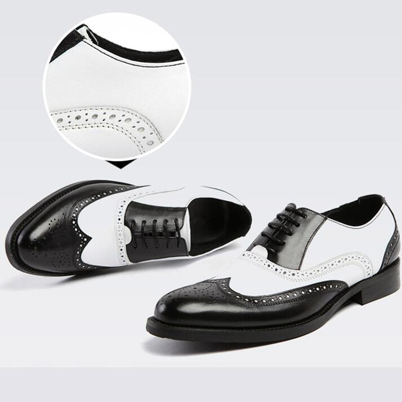 US 6 11 Men Retro Genuine Leather Black and White Fretwork Pointed Toe Oxfords Wing Tip Brogue Formal Dress Shoes in Formal Shoes from Shoes
