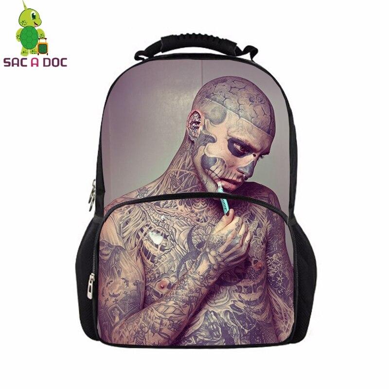 Pop Star Rick Genest Backpack School Bags for Teenage Girls Daily Backpack Women Casual Travel Shoulder Bags Kids Book Bag