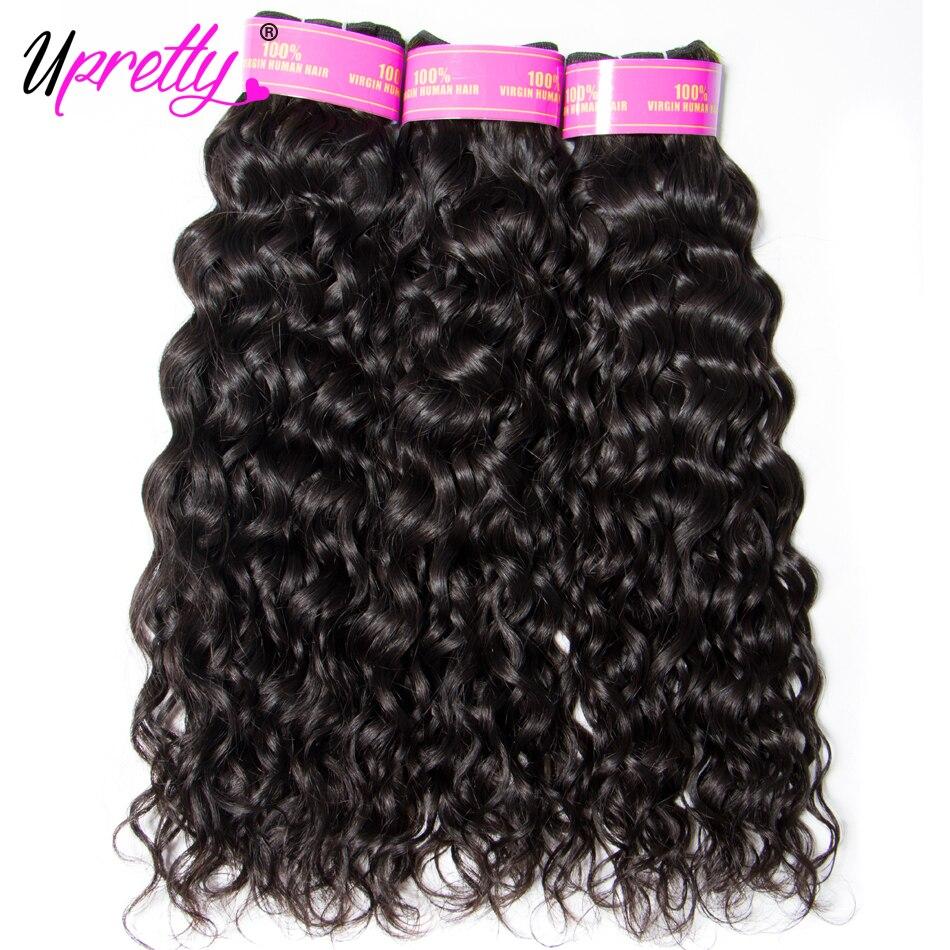 Upretty бразильский пучки волос плетение с закрытием мокрые волнистые волосы человека Связки с закрытием волна воды 3 Связки с фронтальные