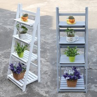 4 Tier Wooden Garden Home Flower Balcony Shelf Ladder Display Free Standing Folding Flower Shelf Dish Rack Flower Stand