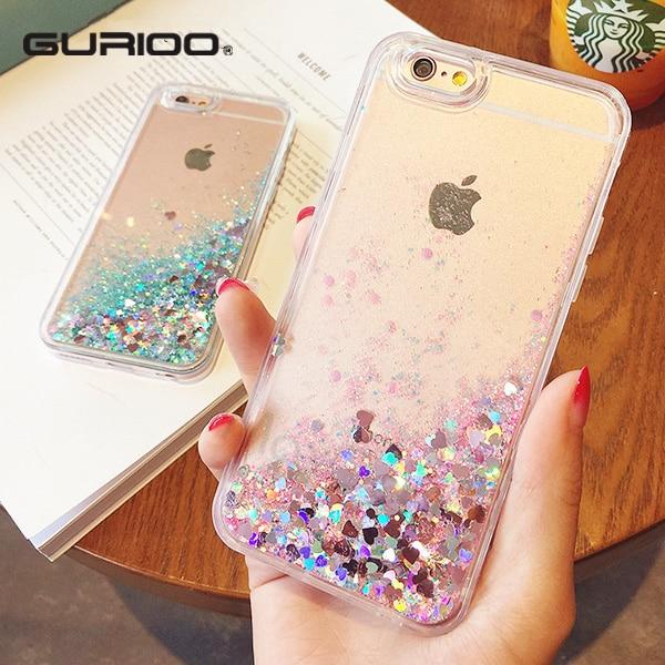 Fashion Liquid Glitter Sand Mobile Phone Cases For iphone 6 6s 5 5s SE 7 7 Plus Heart Sequins Dynamic Plastic + Soft Edge Fundas
