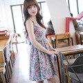 Лето dress floral dress для женщин 2016 хлопок печати о-образным вырезом dress симпатичные тонкий танк рукавов выше колена корейский одежда