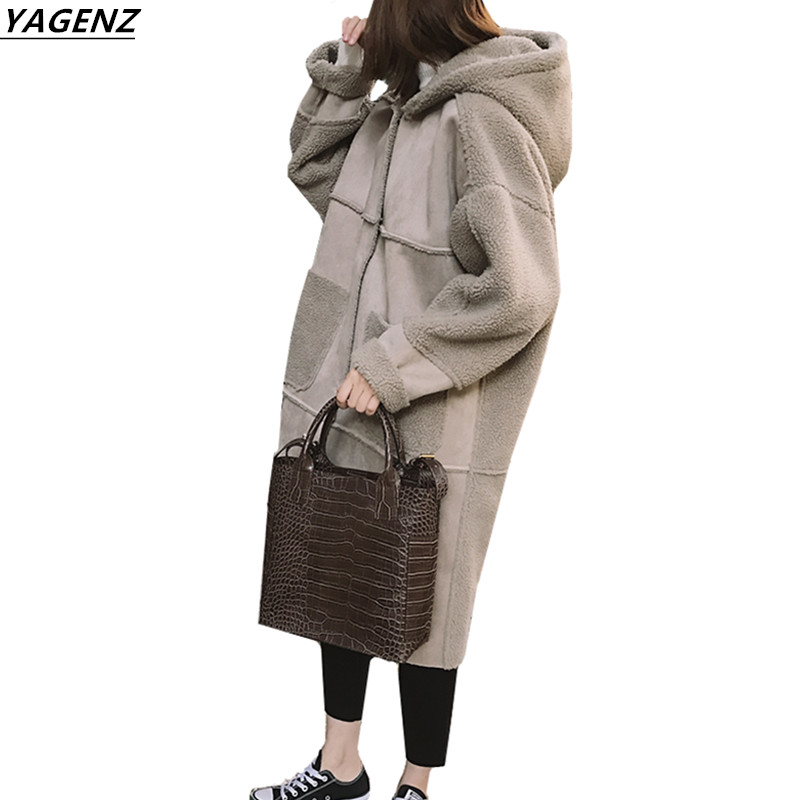 2017 Winter Jacket Faux Suede Stitching Long Section Women Basic Coats Hooded Thick Winter Coat Large Size Casual Tops YAGENZ