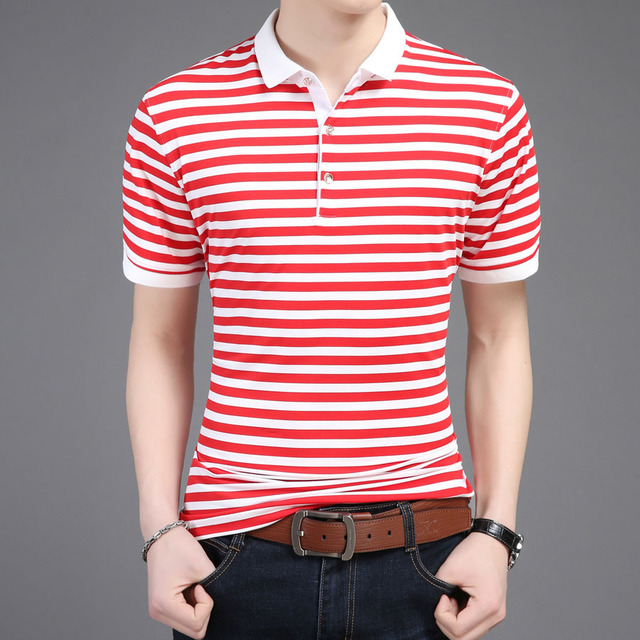 25c6734914dc5 Black Green Red White Striped Polo Shirt Men Short Sleeve Summer Slim Fit  Casual Male Polos Brand Cotton