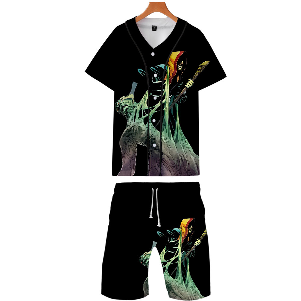 2019 Swamp Thing Two Piece Set Jacket And Shorts Kpop Fashion New Cool Print Swamp Thing Baseball Jacket Set For Men