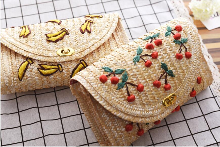 Fruit Cherry Banana Straw Beach Bag for Women Messenger Bags Embroidery Design Summer Cute Flap Chain Shoulder Bag Сумка