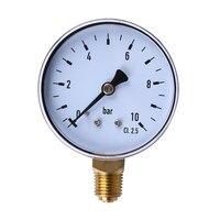 1 pçs 1/4 Polegada npt montagem lateral 10 barra de metal óleo água compressor ar manômetro pressão medidor ferramenta medição atacado