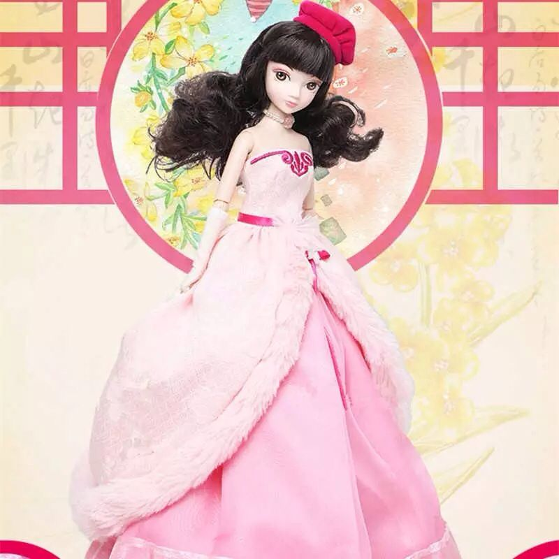 ФОТО d0704 in box best children girl gift 30cm kurhn chinese doll chinese myth gift traditional toy spring festival pink girl 1pcs