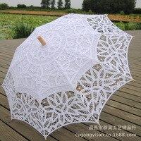 Hot Sale White Handmade Embroidered Lace Parasol Sun Umbrella Bridal Wedding Birthday Party Decoration Wedding Decor