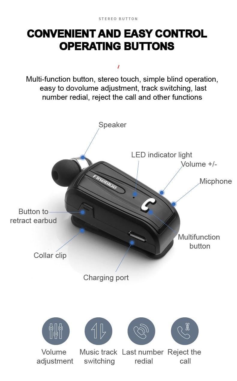 Fineblue F-V6 Earphones Wireless Bluetooth 4.0 In-ear Headset Business Headphones Wear Clip Hands-free with Mic