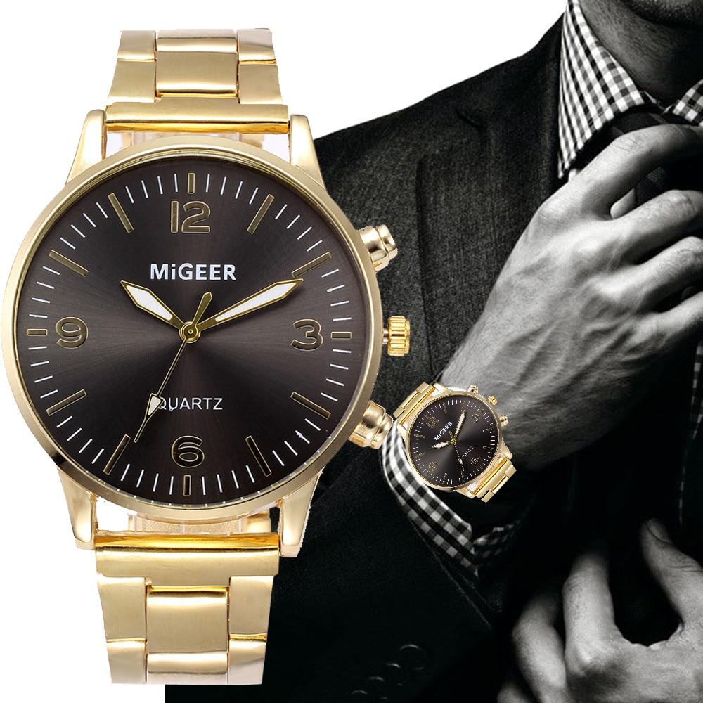 Watches For Men Fashion Crystal Stainless Steel Analog Quartz Wrist Watch Zegarek Meski Orologio Uomo Reloj De Hombre 2019