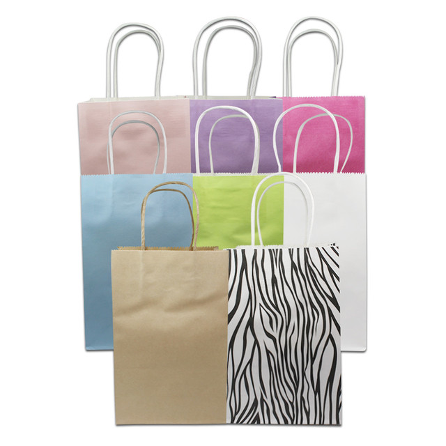 130pcs Lot 21 13 8cm Ping Paper Bags With Handle Boutique Clothes Gift