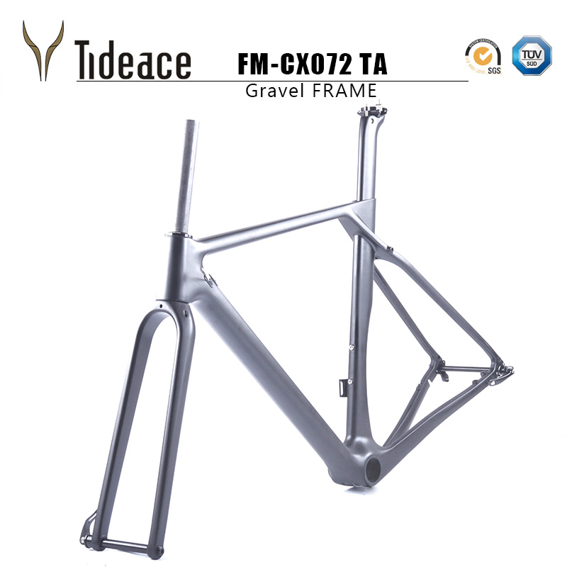 2018 Tideace Full Carbon gravel frame Thru axle Di2 Gravel Bicycle Frame Cyclocross Disc Bike Frame 142*12 or 135*9 hot sale chinese cyclocross frame carbon cx frame di2 disc brake carbon cyclocross bike frame cx535