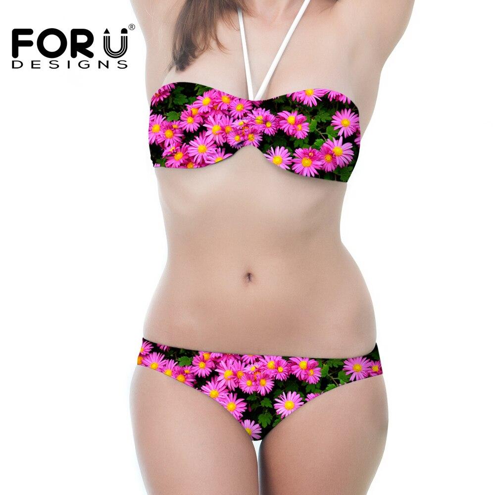 Rosa Blume Frauen Bikini für Teen Verband Bikini Set Padded Push Up...