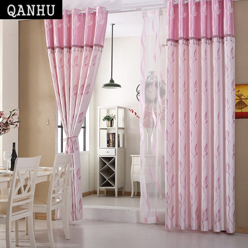 QANHU Comfortable Curtain Cotton Hit Color Bedroom Blackout Curtains For Living Room Home